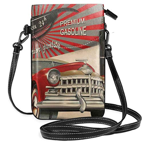 Women Small Cell Phone Purse Crossbody,Poster Style Image Of Gasoline Station Commercial Kitschy Element Route 66 Retro Print