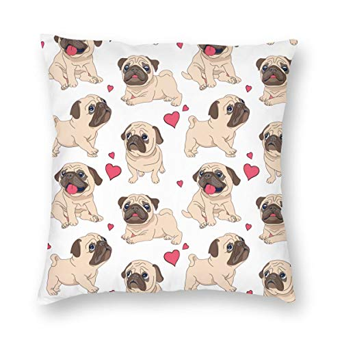 Hangdachang Funny Cartoon Pug Puppy Dog Throw Pillow Case Cushion Cover Decorative Polyester Pillowcase for Sofa House Decor Decoration 45 X 45 cm/18 X 18 Inch