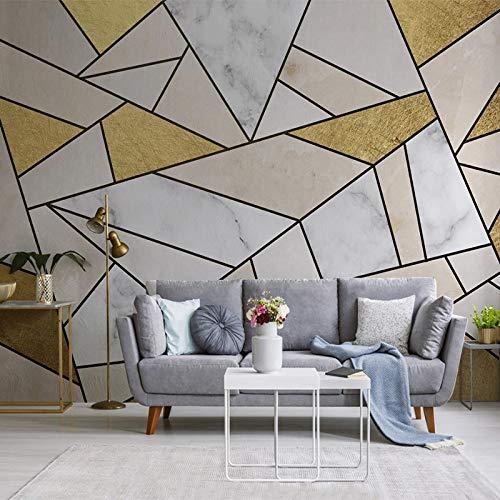 BHXIAOBAOZI eigen 4D muurschildering groot behang, abstract gouden wit geometrie, moderne Hd zijde muurschildering poster afbeelding TV sofa achtergrond muur decoratie voor woonkamer 140cm(W)×70.5cm(H)|4.59×2.29 ft