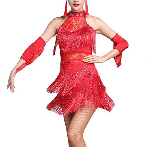 YM YOUMU Damen Lateinisches Tanzkleid Salsa Tango Rumba Cha Cha Ballroom Tanzrock Kostüm (Rot, Tag 3XL(US XL)/ Suggest Weight: 70-75kg)