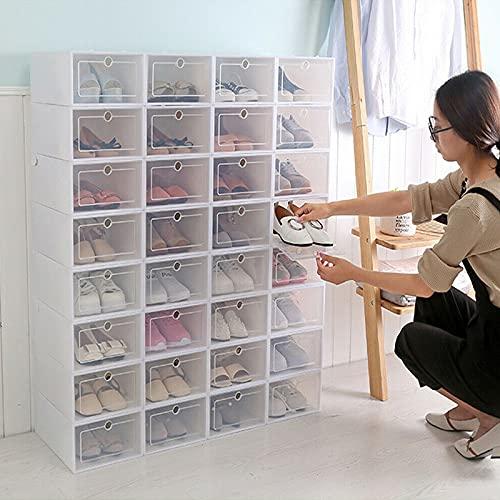Transparante stapelbare schoenendoos, kunststof box, opvouwbare plastic opbergdoos met doorzichtige deur (20 stuks)