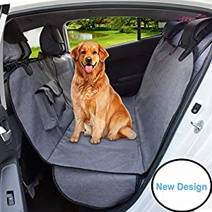 AMOFY Dog Seat Cover for Car Back Seat, Machine Washable, Dog Hammock Scratch-Proof, Waterproof, Non-Slip, Durable Portable Car Back Seat Cover for Cars, Trucks, SUVs, Gray