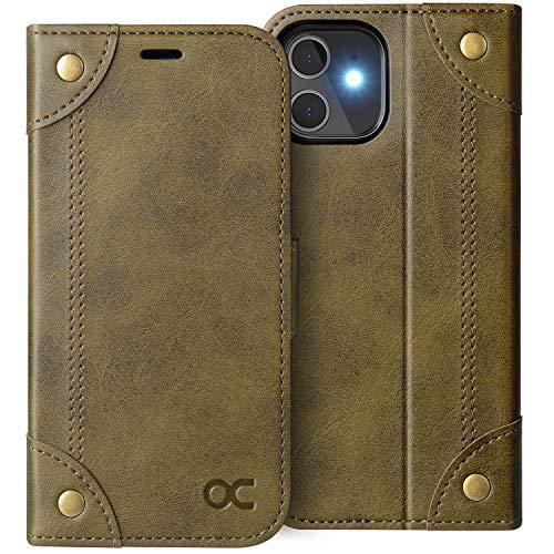 OCASE Retro Hülle iPhone 12 Mini, Handyhülle Tasche PU Leder Flip Cover Brieftasche Etui RFID Schutzhülle Klapphülle Kompatibel für iPhone 12 Mini Kupfer 5,4 Zoll