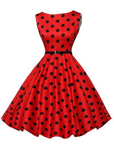 fashion sommerkleid a linie kleid petticoat kleid baumwolle polka dots kleid rockabilly kleid Größe XS CL6086-7