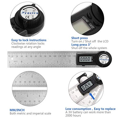Digital Angle Finder Protractor, Preciva 7 inch/200mm Stainless Steel Measuring Ruler with Large LCD Display for Woodworking, Construction (CR2032 Battery Included)