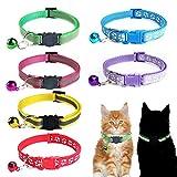 Collares para Gatos, 2 Estilos Collares de Seguridad para Gatos Cabeza de Gato Negro Pie Blanco Estampado de Gatos Collar con Campana para Gatos Perros Pequeños Ajustables 19-32cm / 7-12 Pulgadas