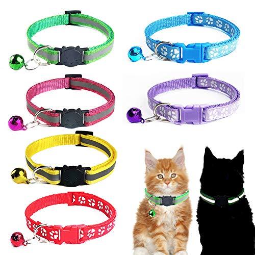 SwirlColor Katzenhalsband Reflektierend, 2 Modelle Katzen-Sicherheitshalsband Schwarzer Katzenkopf Weißer Fußabdruck Katzenhalsband mit Glocke für Kleine Katzenhunde Einstellbar von 19 bis 32 cm