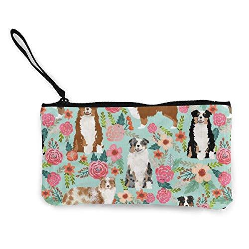 Monedero unisex con diseño de flores australianas con bonito diseño de perros pastores australianos de menta, multifuncional, portátil, de lona, bolsa de cosméticos, bolsa de muñeca con cremallera