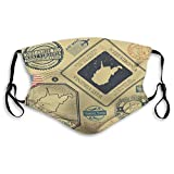 Dan Ding Unisex Shields Shield Poliéster Retro Vintage Sellos Postales Set West Virginia U Outer Shields