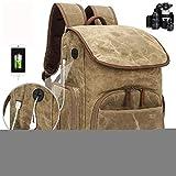Kamera-Rucksack, DSLR-Tasche, Passend für 15-Zoll-Laptop, Rück Zugang, Dehnbare Seitentasche für Reise Stativ für DSLR/Mirrorless/CSC und Standard-Objektive,Khaki