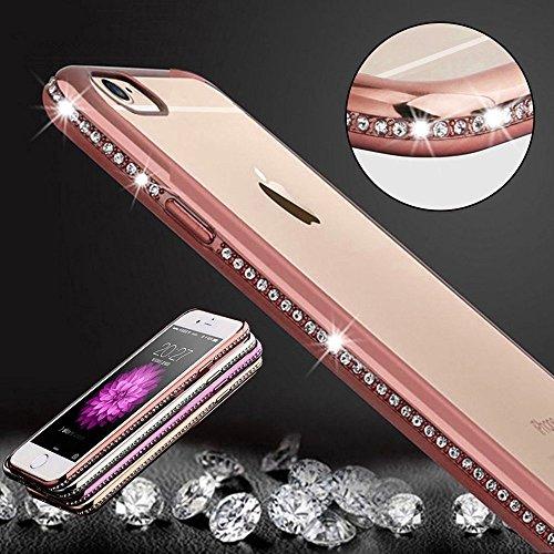 Diamond Bling Deluxe Plating Design para iPhone 6 y 6s Marco de PC Fundas de TPU transparentes Cubierta antideslizante (Color: Oro rosa)
