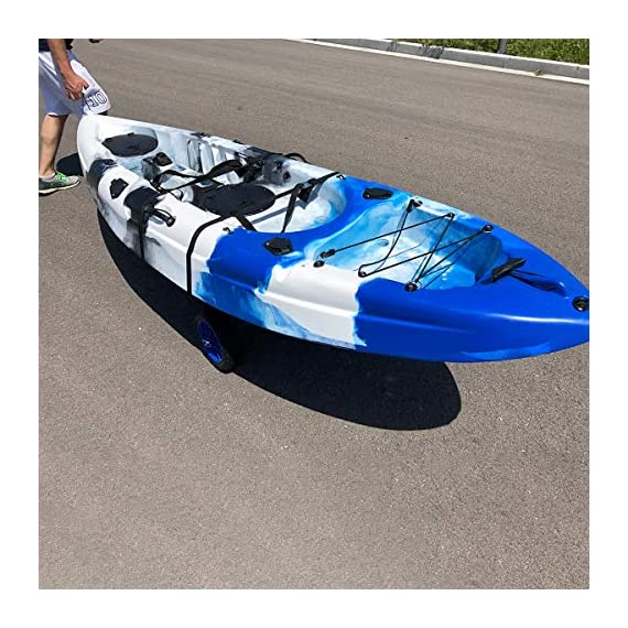 Newcod kayak cart kayak trolley carrier dolly trailer for canoe boat with no-flat airless tires wheels 4 【good quality】22x1. 5mm aluminum tube with rubber pads. 【pu wheel】with two pu solid wheels, don't need to inflate. 【capacity】this kayak cart can be loaded 165lbs.