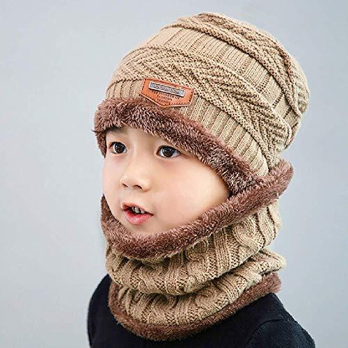 DWXWMZ Mütze Babymütze Plus Cashmere Cap Ear Protection Parent-Child Wool and Winter Children's Knitted Hat Bib Two-Piece