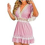 Sommerkleid Damen Kurz Elegant Spitzenkleid Boho A Linie Lässige Kleider Sommer Kurzarm V Ausschnitt Strandkleid Rüschekleid Damen Kleider Elegant Partykleid