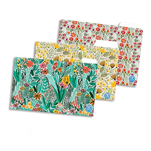 HC with HAPPY CRAFT Decorative Paper Folders with Flora Designs, Pack of 3 (31.75 X 23) cm, A4 Paper Size Document Folder...
