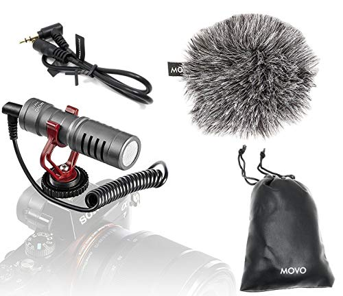 Movo VXR10GY Video Camera Microphone with Shock Mount, Deadcat Windscreen, Case for iPhone, iOS, Android, iPad, Canon EOS, Nikon DSLR Cameras, Camcorders, Laptops - Vlogging YouTube Equipment (Gray)