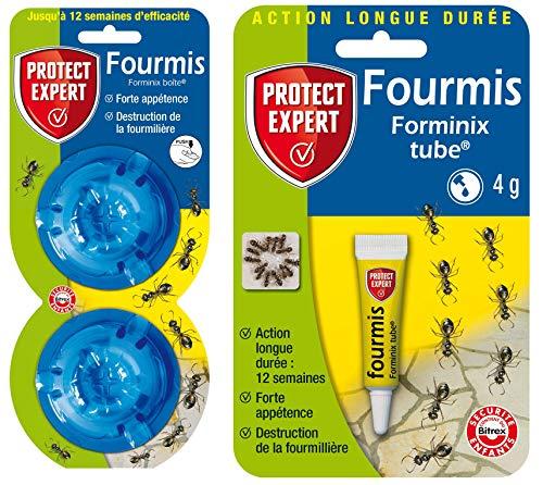 PROTECT EXPERT FBOIT2NTUB, Anti-Fourmis   Lot Tube Concentré 4 GR et Boîtes appâts, 2 x 2Gr, Puissant