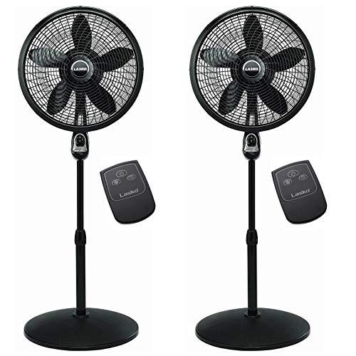 "Lasko 2 x 1843 18"" Remote Control Cyclone Pedestal Fan, Black"