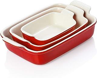 SWEEJAR Porcelain Bakeware Set for Cooking, 9.8 x 13 inch Ceramic Rectangular baking dish Lasagna Pans for Casserole Dish,...