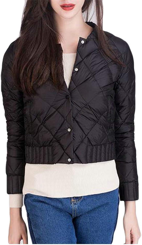 Etecredpow Women's Thin Lightweight Button Quilted Short Elegant Down Outerwear Coats Jacket