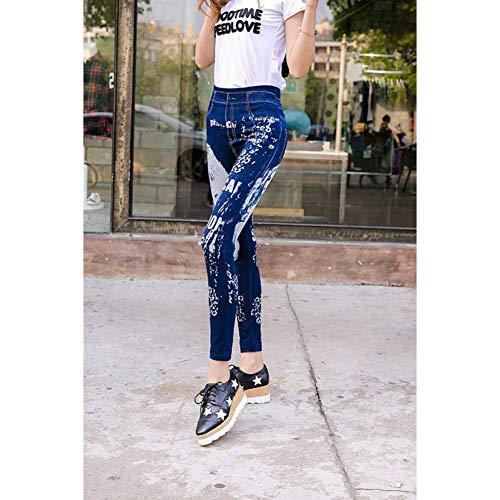 GDRFHJZ Damesmode, bedrukte mat, naadloze punk gothic gat leggings broek stretch scheurtjes jeans leggings jeggings voor vrouwen