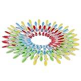 Pinces à Linge (72 Pcs) - Epingles de Cordes à Linge Ergonomiques Souples Résistantes à la Rouille et au Vent pour les Serviettes, Vêtements, Salles de Bain, Hotel et SPA - Rouge, Bleu, Jaune Verte