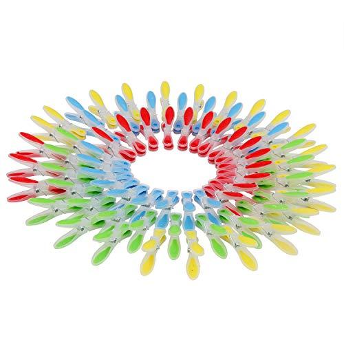 Wäscheklammern (72 Stück) - Ergonomisch Softgrip Kunststoff Wäscheklammer für Wäscheleine Socken, Handtücher, Badezimmer – Rot, Blau, Gelb, Grün