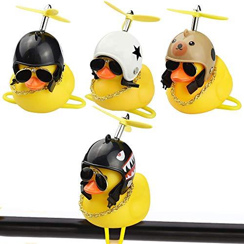 AFASOES 4 Stück Ente Fahrrad Bell Fahrradklingel Fahrraddekorationen Fahrradglocke Kinder Tier Ente Mädchen Nett Klingel Junge Niedlich Ente Gelb Mit Helm (Stern, Bären, Schwarz 8 & Hai Modelle)