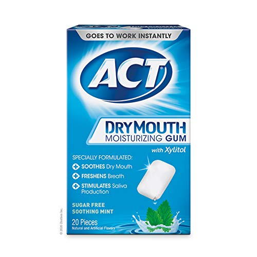 ACT Dry Mouth Moisturizing Gum with Xylitol, Sugar-Free Soothing Mint, 20 Pieces Sugar-Free Dry Mouth Gum