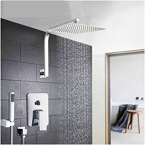 6 8 10 12 16 Sistema soffione doccia in acciaio inox con set doccia a pioggia Set per vasca da bagno con doccia, finitura lucida da 12 pollici