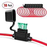Nilight 10 Pack NI-FH01 Inline Holder 14AWG Wiring Harness ATC/ATO 30AMP Blade Automotive Fuse Holder-10, 2 Years Warranty