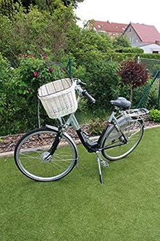 Marcus´ Weidenhandel Bello Panier de vélo pour Chien en Osier avec Grille métallique et Coussin Taille XL ou XXL Blanc