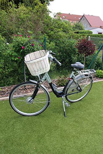 Marcus´ Weidenhandel Hundefahrradkorb für Fahradlenker aus Weide mit Metallgitter und Kissen L, XL oder XXL weiß (L mit Kissen)