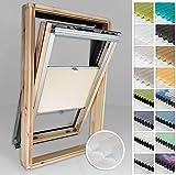 Home-Vision® Dachfenster Premium Plissee Faltrollo ohne Bohren Velux-kompatibel (Creme für P10 - Silber) Blickdicht Sonnenschutz, Alle Montage-Teile inklusive