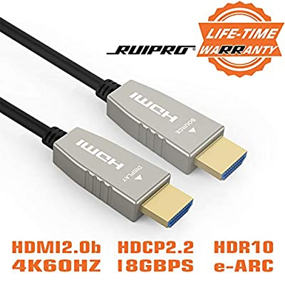 Fiber HDMI Cable RUIPRO 4K60HZ HDR 50 feet Light Speed HDMI2.0b Cable, Supports 18.2 Gbps, ARC, HDR10, Dolby Vision, HDCP2.2, 4:4:4, Ultra Slim and Flexible HDMI Optic Cable with Optic Technology 15m