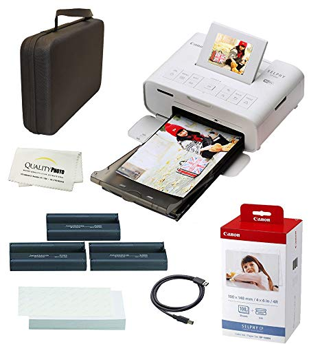 Canon SELPHY CP1300 Wireless Compact Photo Printer with AirPrint and Mopria Device Printing, with Canon KP108 Paper and Black Hard case to fit All Together (White)