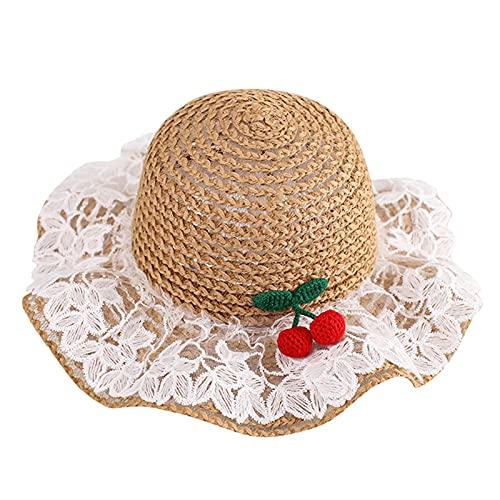YWLINK NiñOs Y NiñAs Sombreros De Paja Para El Sol Lindo Encaje Princesa Sombrilla Transpirable Sombrero De Pescador Protector Solar Sombrero De Lavabo De Playa Sombrero ProteccióN Solar UPF 50