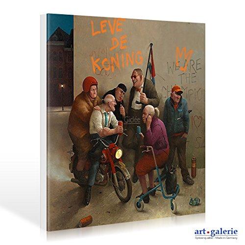 Leinwandbild Marius van Dokkum - Long live the king! - 50 x 50cm - Premiumqualität - , Karikatur, Senioren, Alt-Rocker, Motorrad, Rollator, Graffiti, cool, lustig, komisch, Wo.. - MADE IN GERMANY - ART-GALERIE-SHOPde