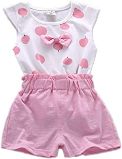 Fairy-Baby Kids Girls Sleeveless Dots Print Bowknot Cotton T-shirt Tops+Shorts Set