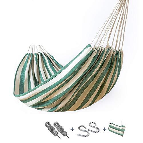 XiuHUa Hangmat - Enkel en 2 personen duurzame camping hangmat schommel, dik canvas, binnen en buiten, geschikt voor gezinnen, studentenwoningen, toerisme, strand, binnenplaats, bergbeklimmen Hangmat B