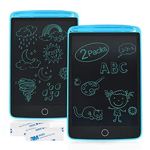 Lavagna LCD 2 Pezzi, Tavolo da Disegno da 8,5 Pollici con 4 Magneti, Blocco per Scrittura a Mano Cancellabile, Blocco Note Portatile Enotepad, Blocco per Tablet Elettronico per Bambini(Blu+Blu)