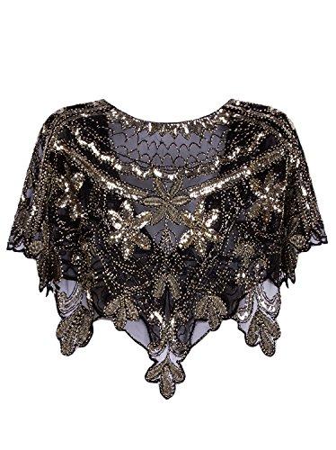 Vijiv Women's 1920s Shawl Deco Sequin Beaded Evening Cape Bolero Flapper Cover Up For Wedding Black Gold