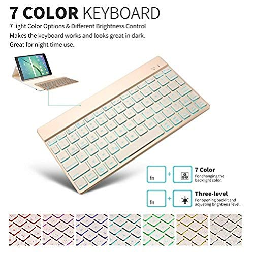 Samsung Galaxy Tab s2 9.7 funda, KVAGO 7 colores de luz de...