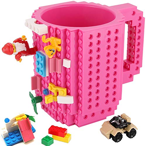 Build-on Brick Mug,Novelty Creative Compatible with Lego DIY Building Blocks Coffee Cup,Fun Mugs,Unique Puzzle Mug,with 3 Packs of Bricks,Beverage Pen Cup for Kids/Office by Sinnsally (Pink)