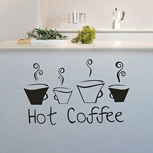 jiuyaomai Zitat Aufkleber schönes Design Kaffeetassen Tee Kaffee Vinyl Wandaufkleber Küche Restaurant Pub Dekor Aufkleber 58x82cm