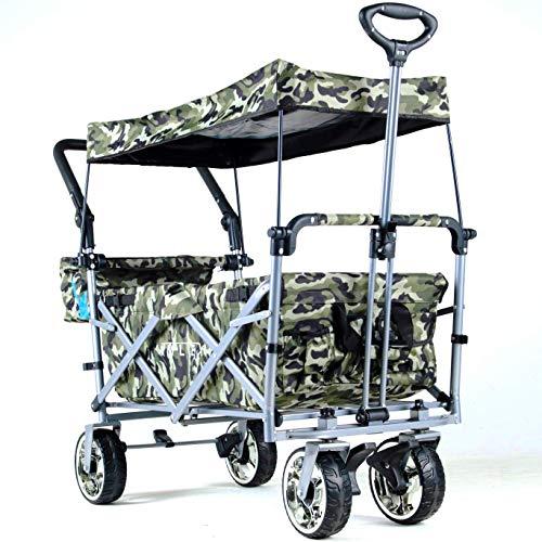 IMLEX IM-4268 Faltbarer Bollerwagen mit Schiebe und Zieh Funktion, Vorder- und Hinterrad-Bremse, in Camouflage