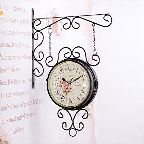LQ-wall clock Relojes de Pared Relojes de Pared a Dos Caras Estilo Europeo Relojes de Cuarzo Simple Pastoral Tranquila Moderna, 002