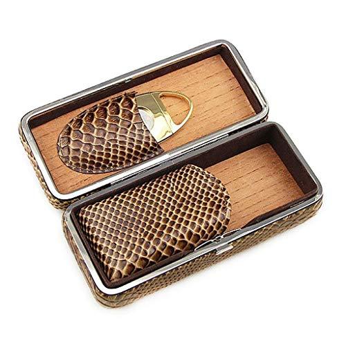 Humido à cigares à la Main Caso Tubo Cigar Cigar Box-Classy Brown Modello in Pelle con Cutter Gift Set pour Le stockage de cigares