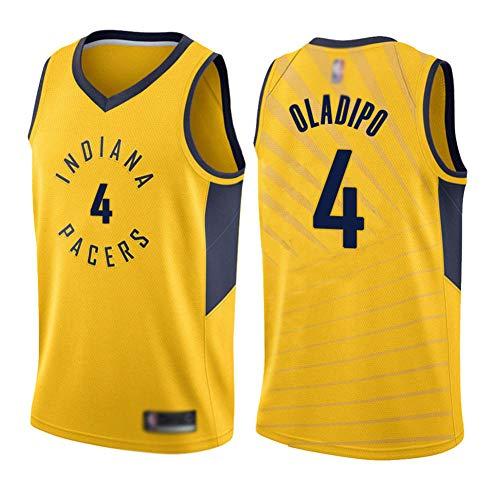 BCGG® Pacers # 4 Victor Oladipo Trikot Tank, Jungen Herren Basketball Uniform Top, Fan Version Fein bestickte T-Shirt Sportbekleidung gelb-A_S