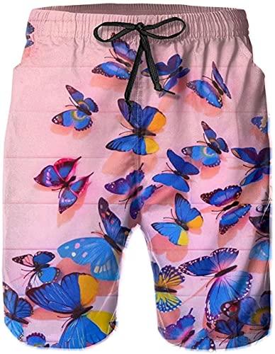 Pantalones Cortos De Playa Transpirables para Hombre Pantalones Cortos De Natación Blue Beautiful Butterfly De Secado Rápido Adecuado para Surf De Verano Y Junto A La Piscina-XXL
